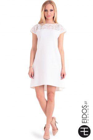 Jasna krótka sukienka z koronką