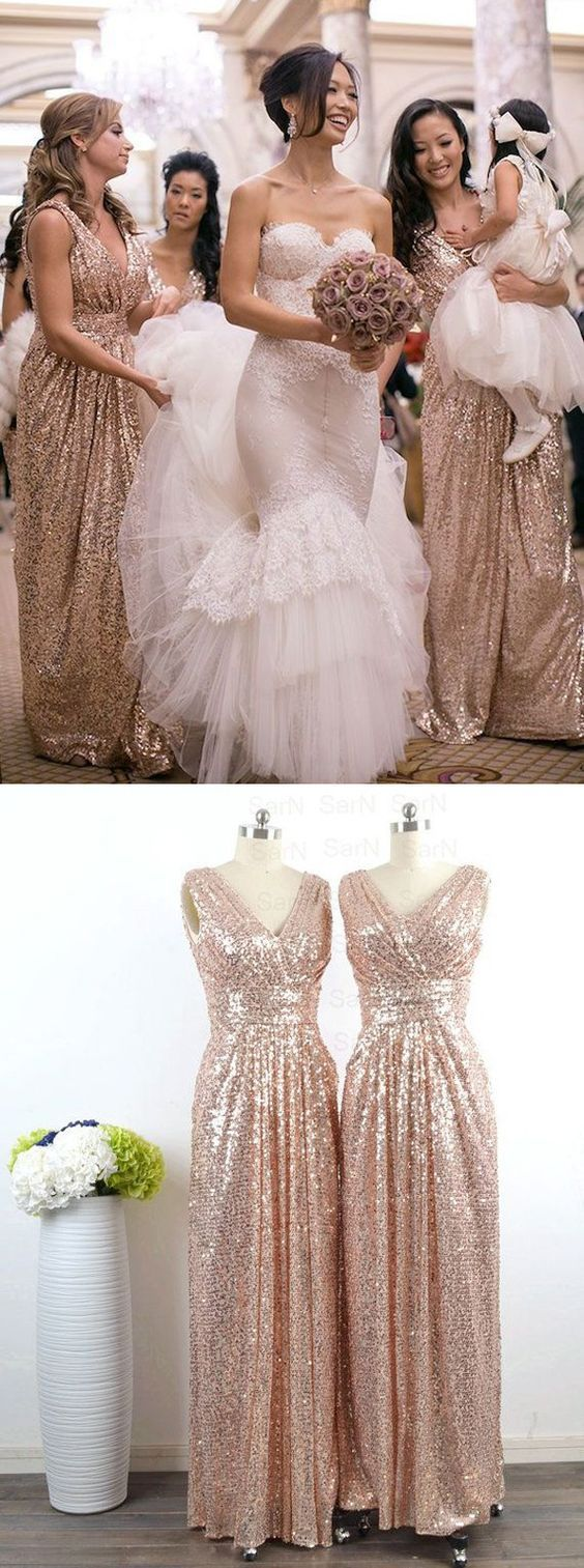 Glamorous V-neck Floor Length Sleeveless Sequins Rose Gold Bridesmaid Dress