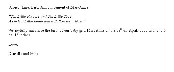 Announcement Email is a sample message sent at the birth of a baby