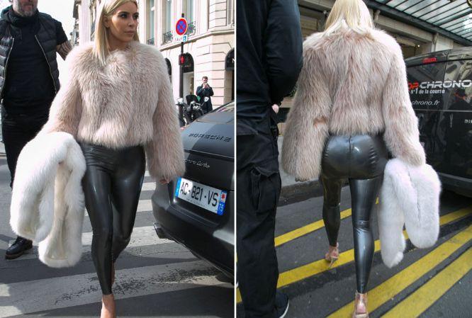 Kim Kardashian luce leggings de látex en PFW