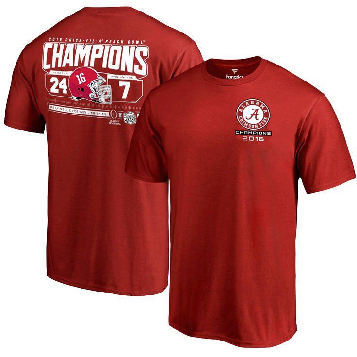 Alabama Crimson Tide Fanatics Branded College Football Playoff 2016 Peach Bowl Champions Score T-Shirt - Cardinal - $22.39