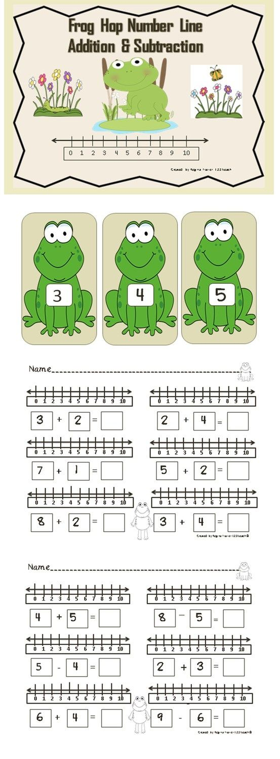 Students will enjoy hopping along the frog number line as they solve addition and subtraction problems. Simply place the frogs on the floor for students to hop to right to solve addition problems or hop to the left to solve subtraction problems. This is a great gross motor activity to do prior to working at the tables to complete the worksheets. Students will use the number lines on the sheets next to each simple addition and subtraction sentence to solve problems.