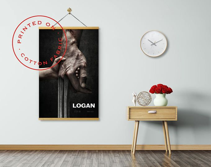 LOGAN WOLVERINE - Poster on Fabric, Hugh Jackman, Patrick Stewart, Dafne Keen, Pull down Poster, Logan Movie, Print on Fabric, Poster Hanger #ad