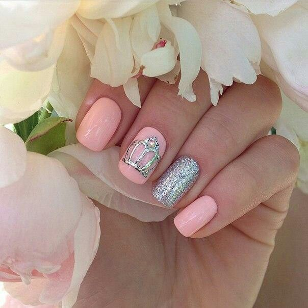 #nail #nail_art #pink #princess #ногти #дизайн_ногтей #маникюр #нежный #розовый #корона #принцесса