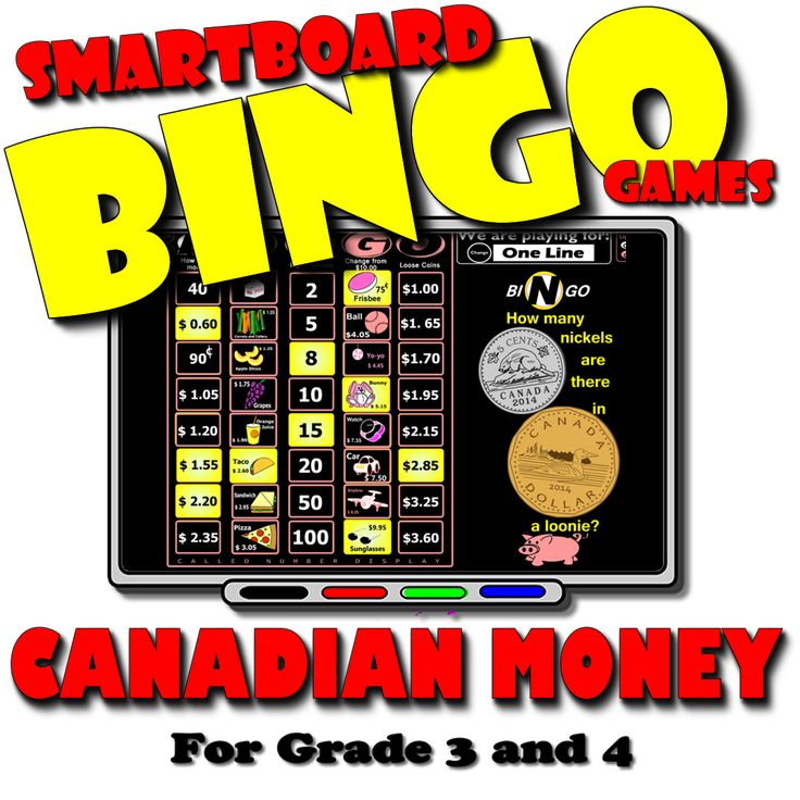 Engage students in learning and reviewing money concepts. Use the interactive bingo caller to draw question cards and display called numbers while your whole class plays along with their own cards. Get 30 PRINT AND PLAY cards for $3.00 at TPT.