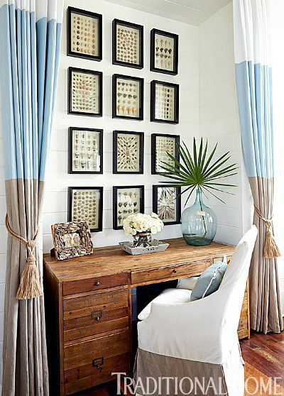 Amazing seashell gallery wall: http://www.completely-coastal.com/2013/10/coastal-art-gallery-walls.html Frame your collected beach shells in an orderly fashion, by size and\or by type!