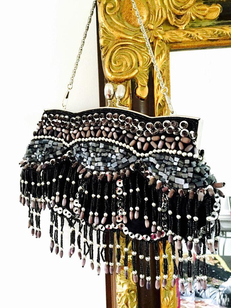 Boho Vintage Clutch Beaded purse/ Handbag evening Beaded chain strap by onepineapple on Etsy https://www.etsy.com/listing/251334718/boho-vintage-clutch-beaded-purse-handbag