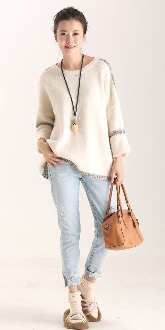 5c513f871a Loose Bat Sleeve Warm Sweater Women Casual Tops M8100