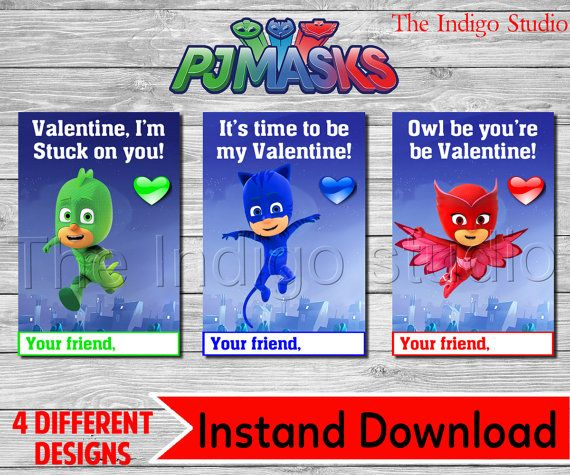 PJ Masks Valentine's Day Cards PRINTABLE by TheIndigoStudio