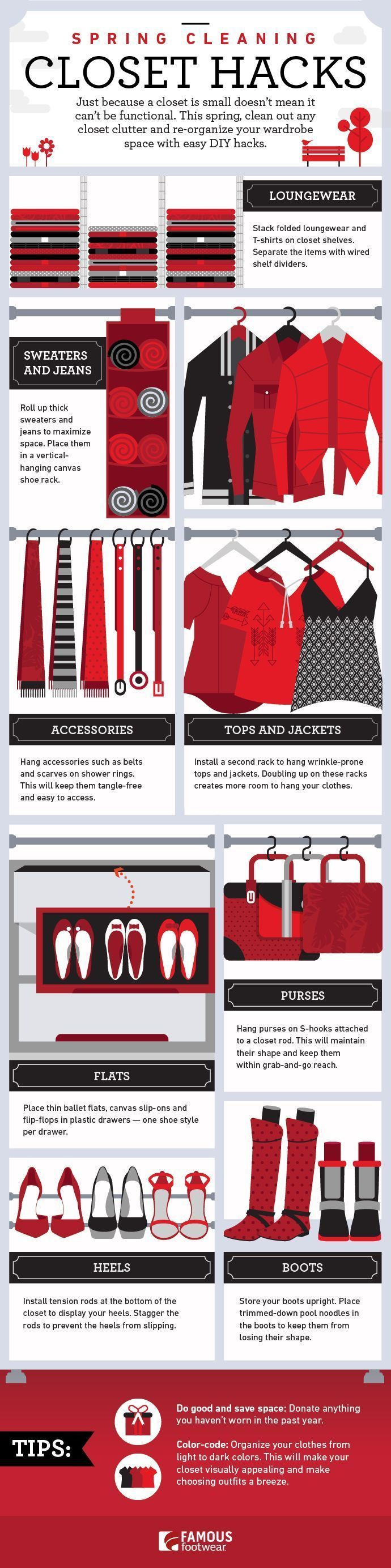 For many, spring cleaning is a time to eliminate clutter, put away the winter clothes, and get the closet ready for warmer weather. While sometimes that might mean getting rid of a few things, what about storing all the stuff you want to keep? If you're someone who can't part with clothes, accessories and shoes, you'll love these spring cleaning closet hacks we've come up with, organized (like your closet soon will be!) in this helpful guide. #clutterhacks