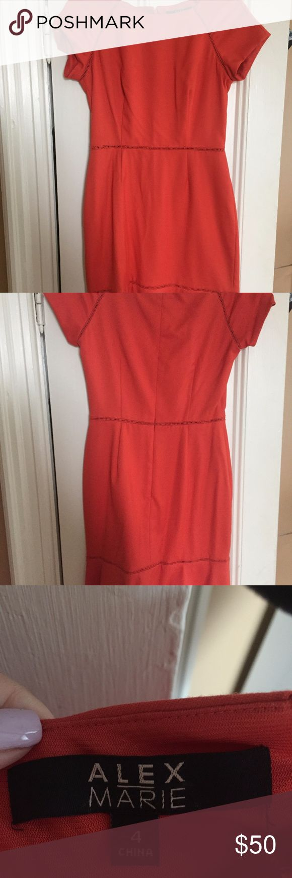 Red Orange Work Dress - Alex Marie Perfect condition, never worn. Dark orange/red work or cocktail dress -- very versatile. Thick fabric, high quality. Alex Marie authentic. Alex Marie Dresses