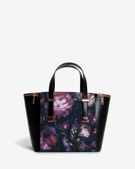 Shadow Floral canvas tote bag - Black | Bags | Ted Baker