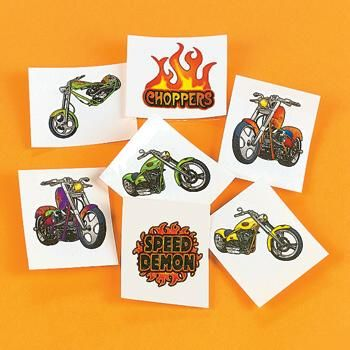 kids motorcycle themed birthday party | 36 Biker CHOPPER TATTOOS 3 Dozen Kids Temporary Motorcycle Party ...