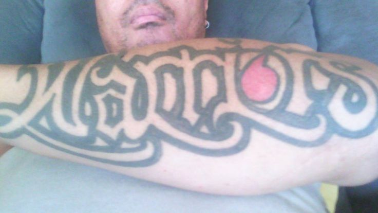 Jason Pulevaka's Warriors tattoo. Check out the Vodafone logo as the 'O' #Tattoo #Vodafone #Warriors