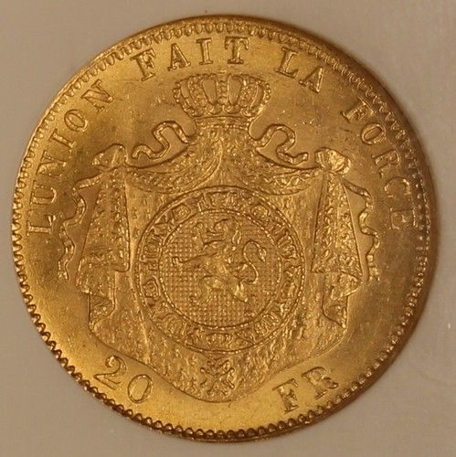 1875 Belgium 20 Francs Gold  NGC MS66 Choice Gem Original Coin KM# 37  Estimate…….$600.+