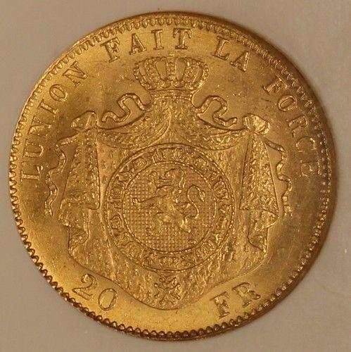 1875 Belgium 20 Francs Gold  NGC MS66 Choice Gem Original Coin KM# 37  Estimate…….$600.+