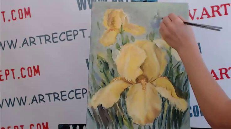 Как нарисовать цветы  - ирисы акриловыми красками