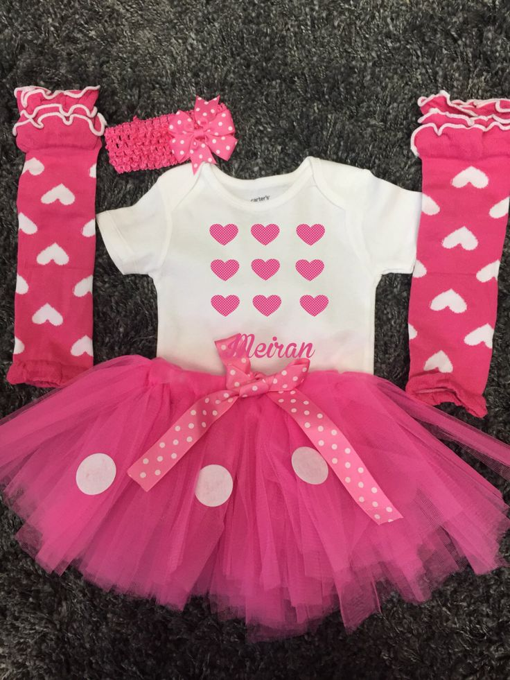 Babyu0027s Valentineu0027s Day Outfit For Girls, Baby Girls  Personalized Valentineu0027s  Outfit   Pink And White Polka Dot