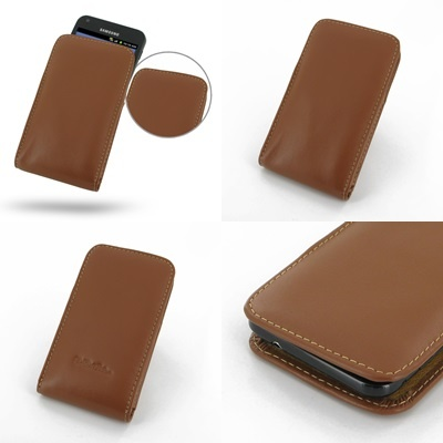 PDair Leather Case for Samsung Galaxy S II Epic 4G Touch SPH-D710 - Vertical Pouch Type (Brown)
