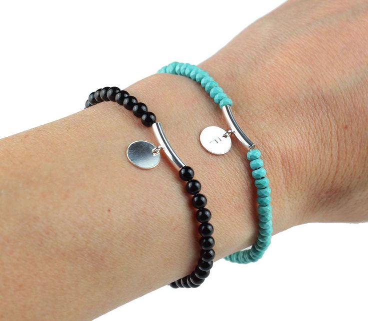 Gemstone Initial Bracelet, Gemstone Custom Bracelet, Personalized Disc Bracelet, Initial Jewelry, Mothers Day Gift, Gift for Her, Mom Gift by ILgemstones on Etsy