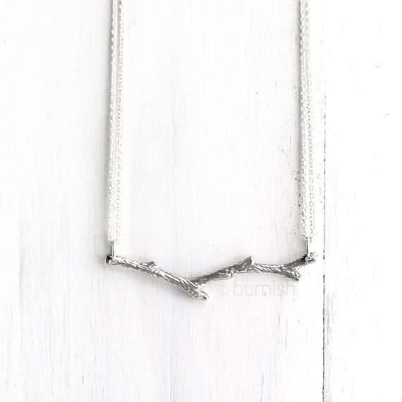 Silver Branch Necklace / Sterling Silver Tree Branch Twig Necklace / Nature Inspired Jewelry by burnish