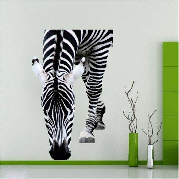 Zebra Wall Decal Zebra Wall Art Sticker Laptop Zebra Stripe