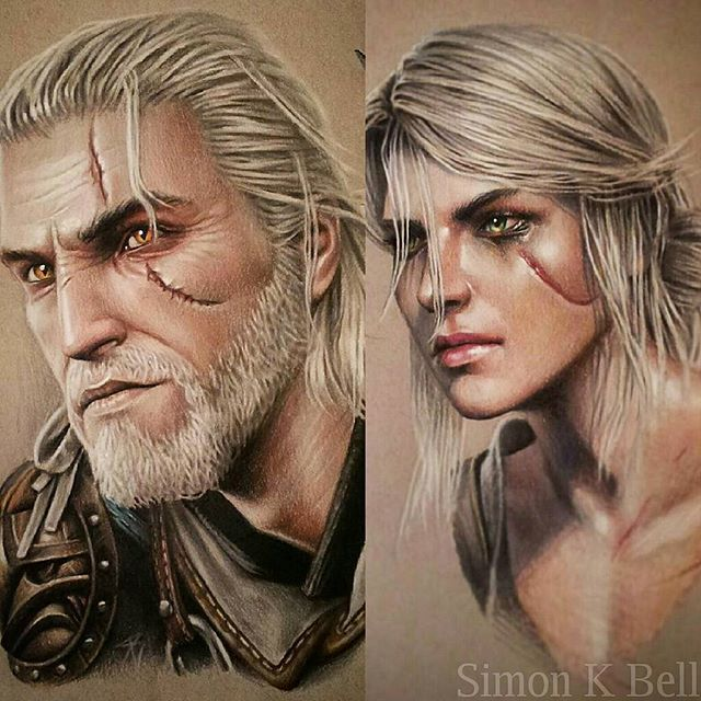 Had these Geralt and Ciri pencil drawings on display at the Liverpool Tattoo…