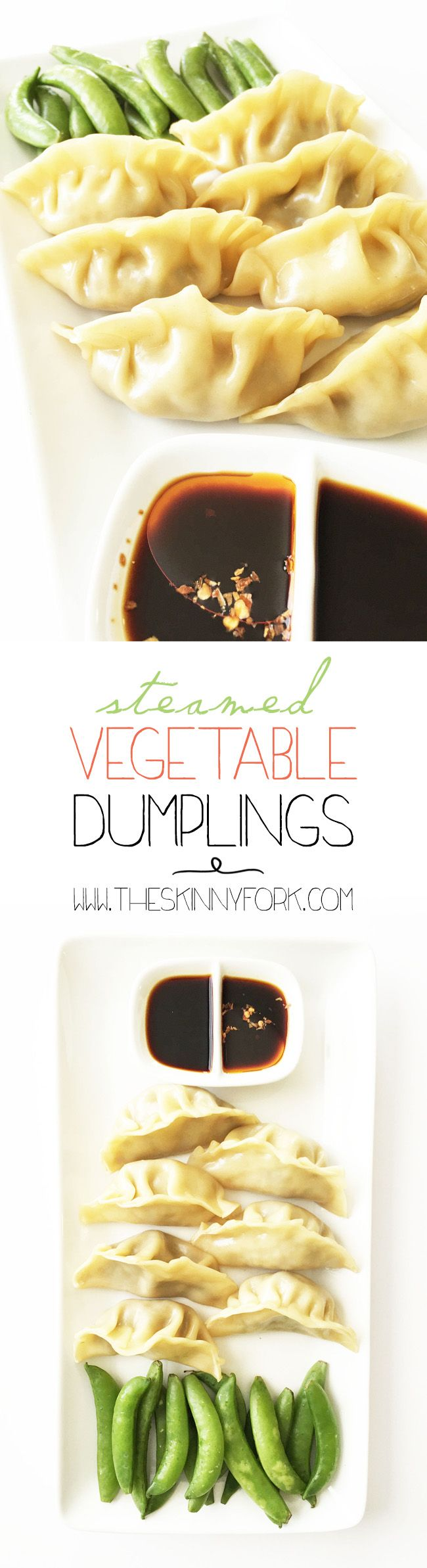 Finally got a bamboo steamer! These amazing Steamed Vegetable Dumplings are easy to make and full of veggie power. Plus they taste amazing with less than 100 calories in a serving! TheSkinnyFork.com