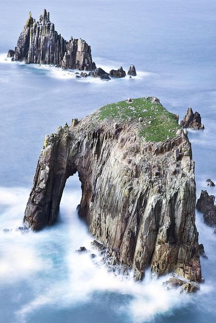 Rock & sea collide, lands end, Cornwall, England