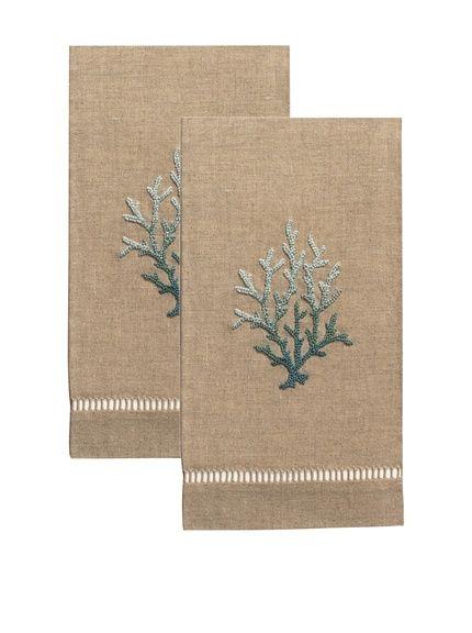 Henry Handwork Set of 2 Blue Coral French Knot Hand Towels, Natural, http://www.myhabit.com/redirect/ref=qd_sw_dp_pi_li?url=http%3A%2F%2Fwww.myhabit.com%2Fdp%2FB00TY9RL3M%3F
