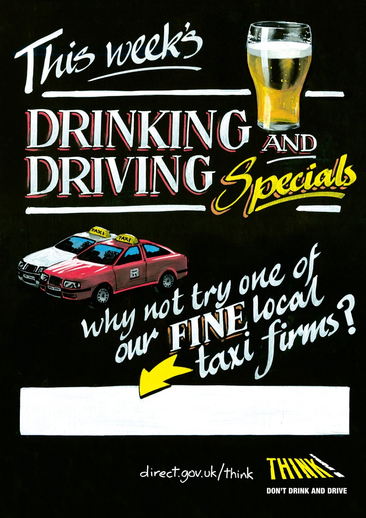23red's poster for THINK! Road Safety - imitating a pub 'specials' board. Illustration by Debbie Jew.