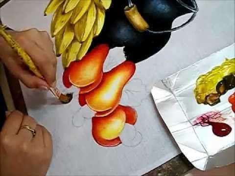 PINTURA EM TECIDO - Vídeo Aula Cesto com Maçãs - How to paint basket. - YouTube