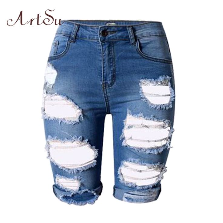 ArtSu Shorts Women Hole Denim Short Pants Women High Waist Shorts Ripped Jeans Denim Shorts Cortos Mujer Spring Summer ASSH50001 * AliExpress Affiliate's Pin. Detailed information can be found on AliExpress website by clicking on the VISIT button