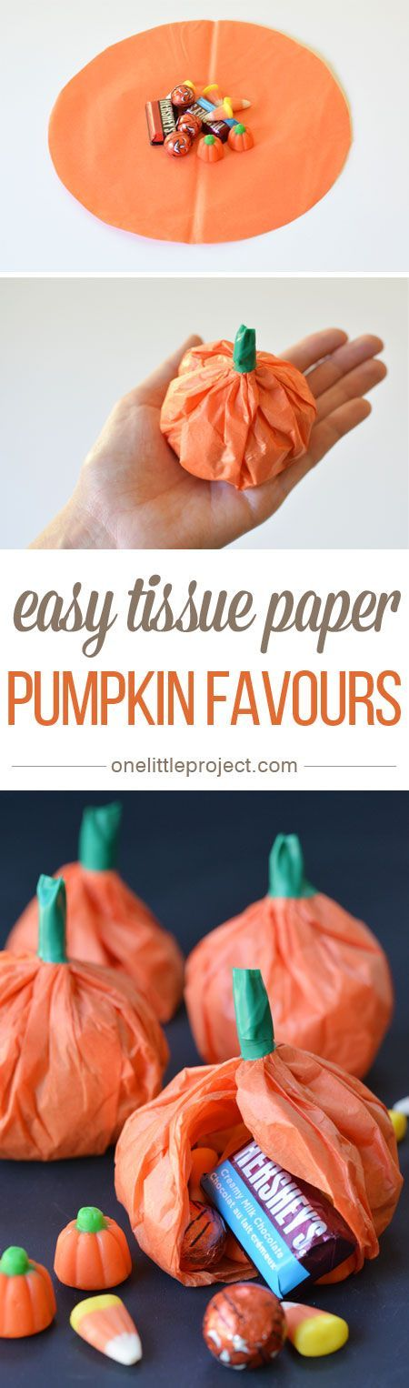 These easy, DIY tissue paper pumpkin favors are a great treat to send with your kids to school or give your Halloween party guests! Simply fill with your favorite candy and chocolatey treats for a fun and tasty gift idea.