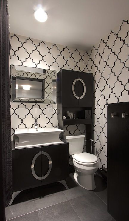 Vanessa Deleon - bathrooms - moroccan wallpaper, black and white moroccan wallpaper, trellis wallpaper, moroccan tile wallpaper, modern espr...