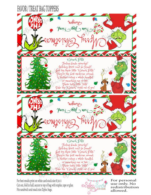 Grinch Pills Treat Bag Topper Printable by BaileyBunchInvites