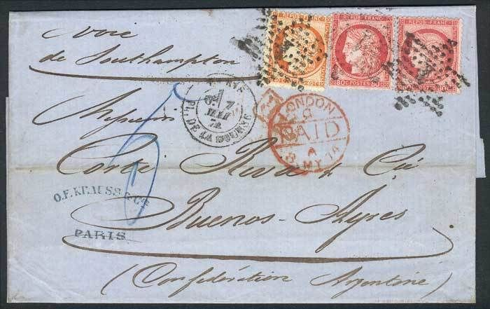 France, 7/MAY/1874 PARIS - ARGENTINA: complete folded letter franked by Yv.38 + 57 x2 (total 2Fr.), tied by dotted star with numeral 1, sent to Buenos Aires via England, superb! Starting Price (11/2016): 157 EUR.
