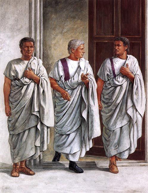 """On duty at the Imperial Palace; reign of Claudius: Praetorian guardsman; Emperor Claudius; Praetorian tribune"", Richard Hook"