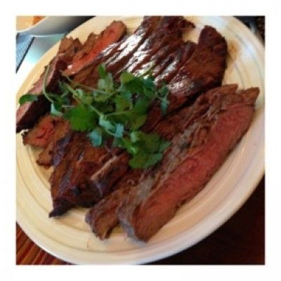 Herb Marinated Grilled Flank Steak on the Big Green Egg