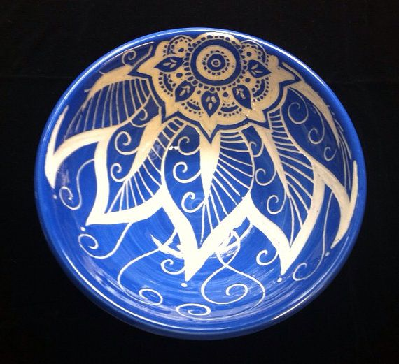 Blue floral bowl carved with sgraffito mandala flower, by Paula Focazio Art & Design