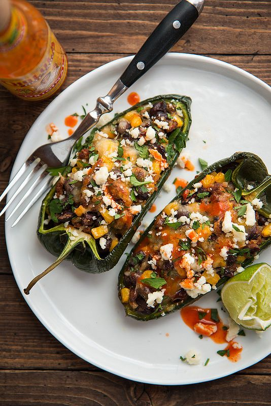Chorizo and Black Bean Stuffed Poblano Peppers