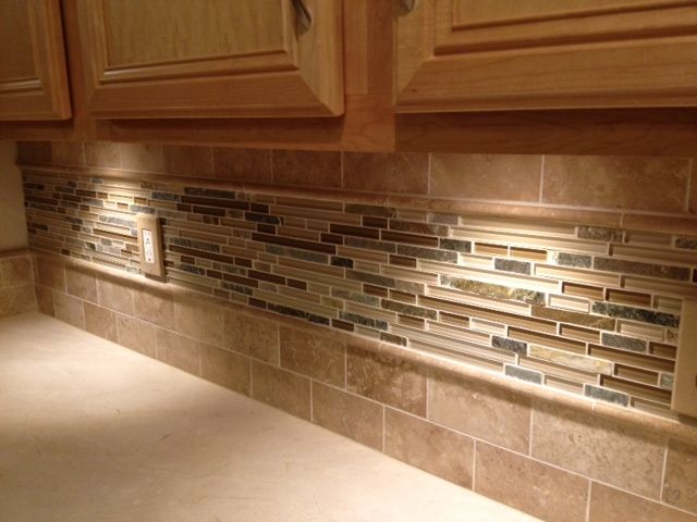 travertine and glass backsplash