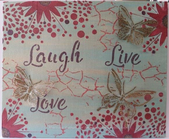 Canvas by Martina Tidball for Hochanda ODS June 2017. Imagination Crafts' Art stencils.