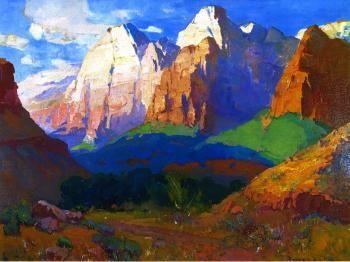 """Pinnacle Rock, Utah,"" Franz A. Bischoff (1928), 30x40, oil"