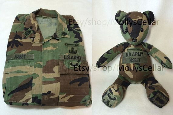 Memory bears from uniforms are a unique gift and a great way to honor those who have served. These bears also make great gifts for a child with a parent that is deploying. It is a special way for them to have a piece of Daddy or Mommy with them at night while they are away serving our country. They can be a special gift for someone who is about to retire or a birthday, Fathers or Mothers Day gift. The purchase of this listing is for a custom bear made from military uniforms that you send…