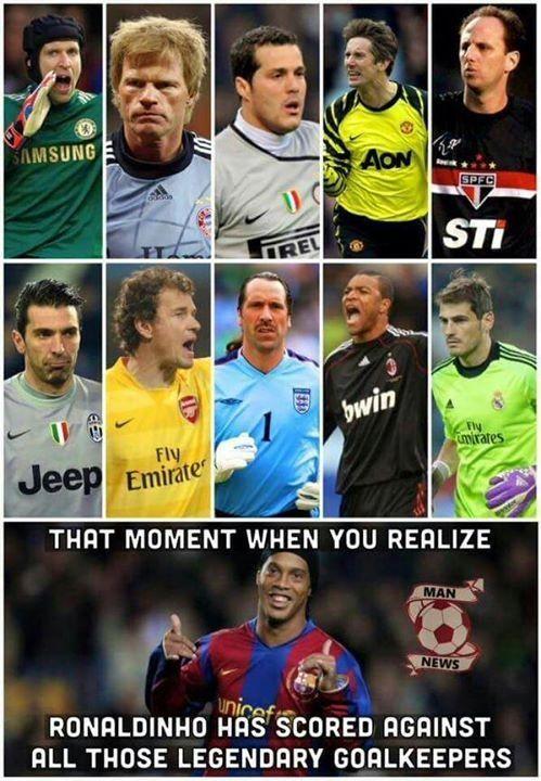 Ten moment kiedy uświadomisz sobie że strzeliłeś gola każdemu wielkiemu goalkeeperowi • Ronaldinho pokonał każdego z tych bramkarzy >> #ronaldinho #football #soccer #sports #pilkanozna