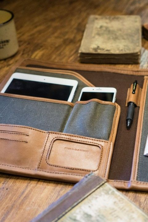 Handcrafted whiskey brown leather and waxed canvas business padfolio for men. Rugged. Professional. Classic.