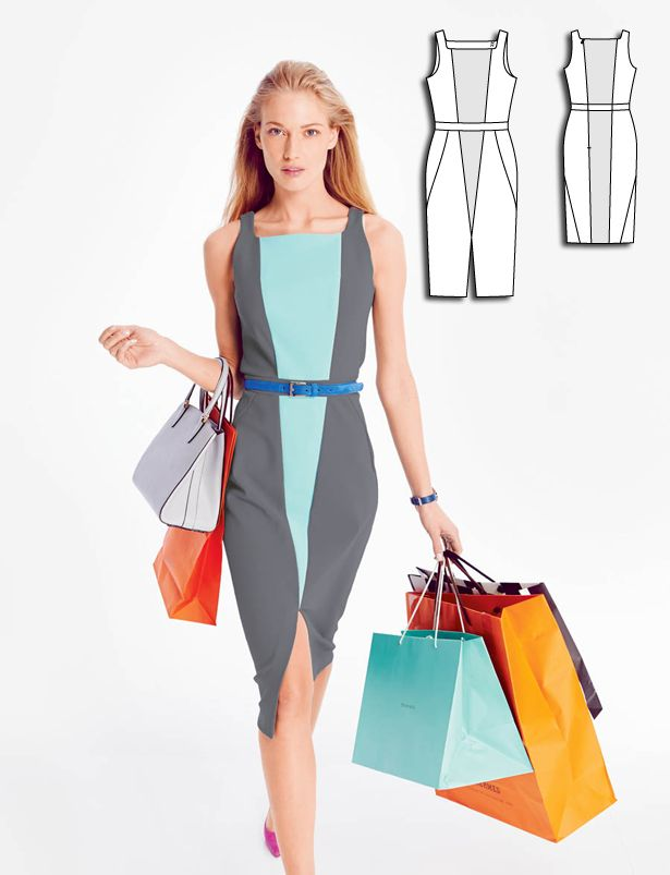 Sheath Dress with Front Slit 08/2015 #122B http://www.burdastyle.com/pattern_store/patterns/sheath-dress-with-front-slit-082015?utm_source=burdastyle.com&utm_medium=referral&utm_campaign=bs-tta-nl-150802-ColorCodeCollection122B