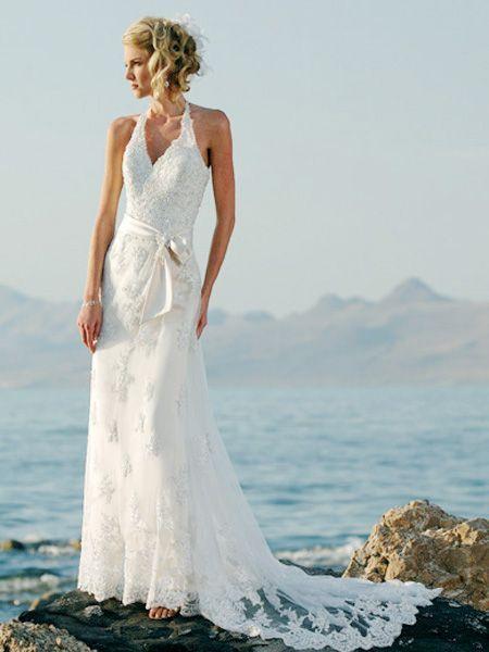 Fashionable Halter V-Neck Beads Working Sash / Ribbon Lace Satin Chapel Train Beach Bridal Dress