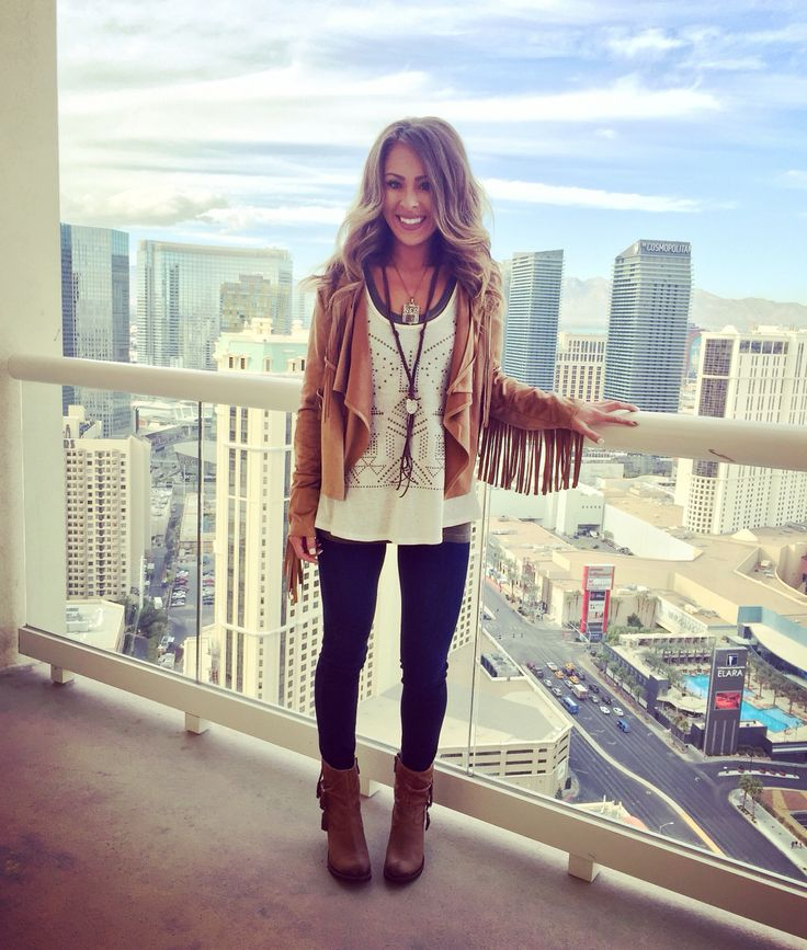 suede fringe jacket, lace crochet tank, leggings, boots